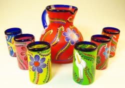 Mexican Glass six tumblers and pitcher Hand Painted POP flowers