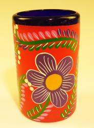 Mexican Glass Blue Rim 16 oz Hand Painted POP RED