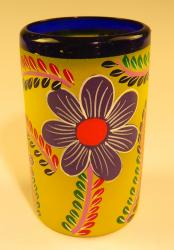 Mexican Glass Blue Rim 16 oz Hand Painted POP Yellow