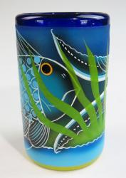 Mexican Glass Blue Rim 16 oz Hand Painted Fish Pez