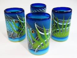 Mexican Glass tumblers 16 oz set of four hand painted with Fish, Pez