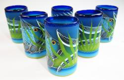 Mexican Glass tumblers 16 oz set of six hand painted with Fish, Pez