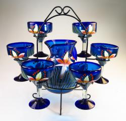 Mexican Painted Orchid Flowers Pitcher & Six Margarita glasses,  with display rack