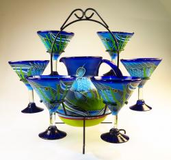Mexican Margarita Glasses and Pitcher, FISH in the Sea, w display stand