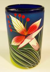 Mexican Glass Blue Rim 16 oz Hand Painted Orchid Flower