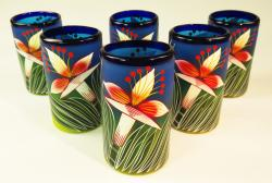Mexican Glass tumblers 16 oz set of six hand painted with Orchid Flower