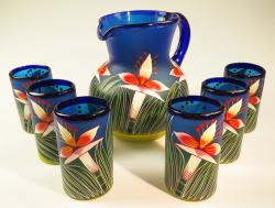 Mexican Glass six tumblers and pitcher Hand Painted Orchid flowers