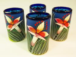 Mexican Glass tumblers 16 oz set of four hand painted Orchid