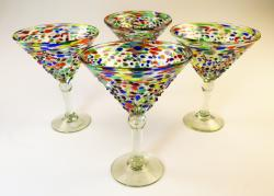 Mexican Glass pebble confetti martini 14oz set of four
