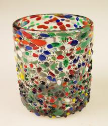 Mexican Glass pebble confetti, 12oz tumbler, Made in Mexico