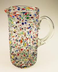 Mexican Glass Pitcher, pebble confetti straight 60oz