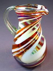 Pitcher 80oz Mexican blown glass red and white swirl Pera