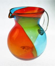 Mexican Glass Pitcher Tricolor Bola 85oz