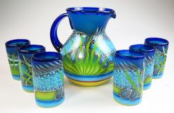 Mexican Glass six tumblers and pitcher Hand Painted Fish, Pez