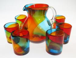 Mexican Glass Set Tricolor 85oz Bola Pitcher 6g12oz
