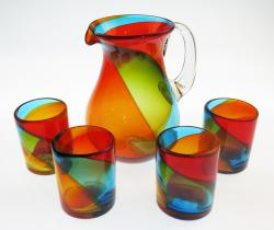 Mexican Glass Set Tricolor 80oz Pera Pitcher 4g12oz