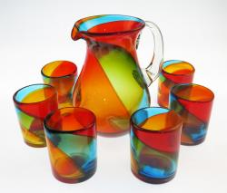 Mexican Glass Set Tricolor 80oz Pera Pitcher 6g12oz