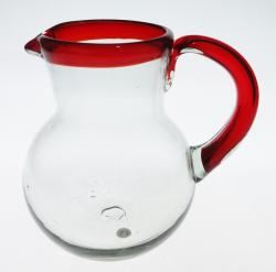 Mexican Glass Pitcher, Red Rim and Handle, 80 oz Bola