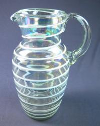 Mexican Glass Pitcher White Spiral
