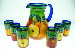 Painted Mexican Glass Pitcher set - APPLES