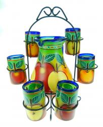 Painted Mexican Glass Pitcher set with rack - APPLES