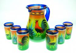 Painted Mexican Glass pitcher set - Roosters