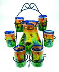 Painted Mexican Glass Pitcher set with rack - ROOSTER