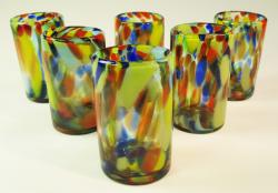 Mexican Drinking Glasses, Set of six,16 oz. Rainbow Swirl