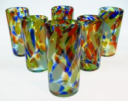 Mexican Drinking Glasses, Set of six, 20 oz Rainbow Swirl