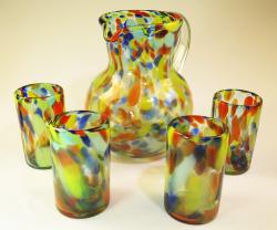 Mexican glass set Rainbow swirl bola pitcher four 16 oz tumblers