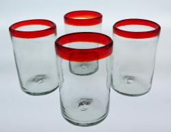 Red Rim 16oz Tumblers set of four, Mexican bubble glass