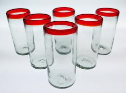 Red Rim 20oz Tumblers set of six, Mexican bubble glass