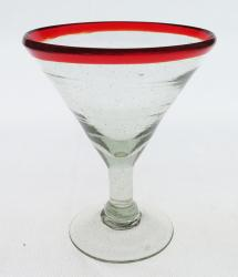 Mexican glass martini red rim 10 oz