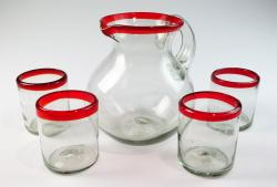 Red Rim Bola Pitcher and four 10oz tumblers Mexican Glass Set