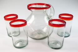Red Rim Bola Pitcher and four 16oz tumblers Mexican Glass Set