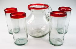 Red Rim Bola Pitcher and four 20oz tumblers Mexican Glass Set