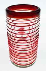 Mexican glass red spiral tumbler 18oz