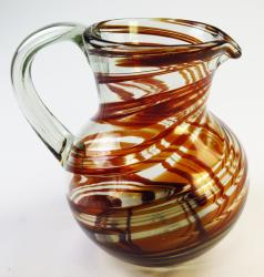 Mexican Glass Margarita Pitcher, Red Swirl, Bola 4 quarts