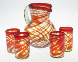Mexican glass set Pitcher and four 16oz  Red Swirl glasses