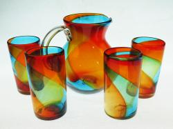 Mexican Glass Set Tricolor 85oz Bola Pitcher 4g