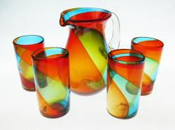 Mexican Glass Set Tricolor 80oz Pera Pitcher 4g