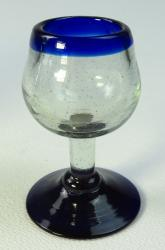 Mexican tequila stemmed shot glass, blue rim