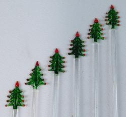 Mexican Glass Stir Sticks 6 Christmas Tree