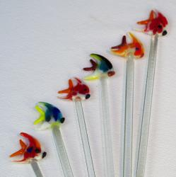 Stir Sticks glass Fish hand made in Mexico