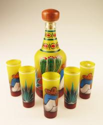 Shot glass set & matching bottle with Sleepy Agave Cutter, Saguaro and Donkey