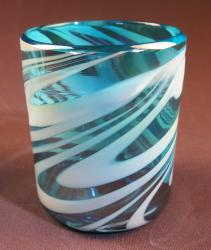Mexican Glass tumbler 12oz  Turquoise and white swirl