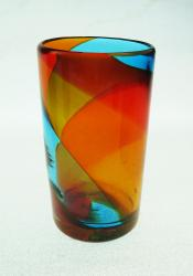 Mexican Glass Tumbler 18oz tricolor