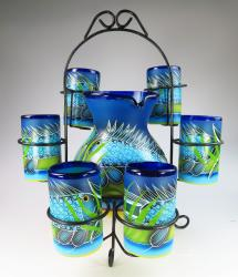 Mexican Glasses and Pitcher, FISH in the Sea, w display stand