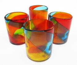 Mexican Glass Tumbler 12oz tricolor set of four