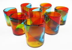 Mexican Glass Tumbler 12oz tricolor set of eight